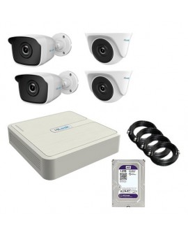 KIT 5 - DVR + DISCO DURO + 2 CAMARAS BALA + 2 CAMARAS DOMO 1MP